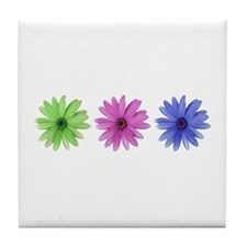 3 color daisies Tile Coaster