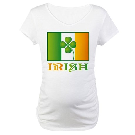 Irish Shamrock Flag Maternity T-Shirt