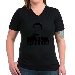 "Ronald Reagan ""Reaganite"" Women's V-Neck Dark T-Sh"