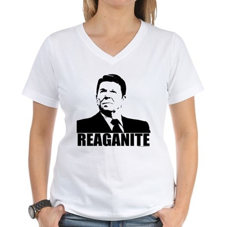 "Ronald Reagan ""Reaganite"" Women's V-Neck T-Shirt"
