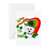 St Patrick's Day Bichon Frise Greeting Cards (Pk o