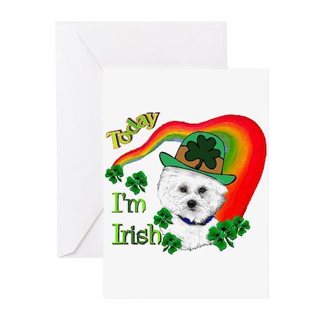 St Patrick's Day Bichon Frise Greeting Cards (Pk o