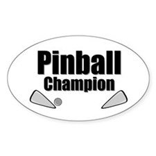 Old School Pinball Arcade Gam Oval Stickers