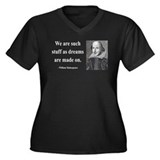Shakespeare 12 Women's Plus Size V-Neck Dark T-Shi