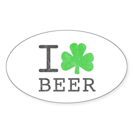 Vintage I Shamrock Beer Oval Sticker