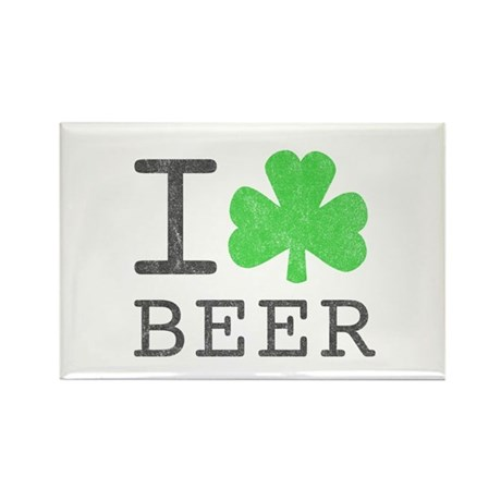 Vintage I Shamrock Beer Rectangle Magnet