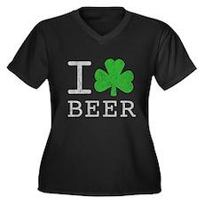 Vintage I Shamrock Beer Womens Plus Size V-Neck D