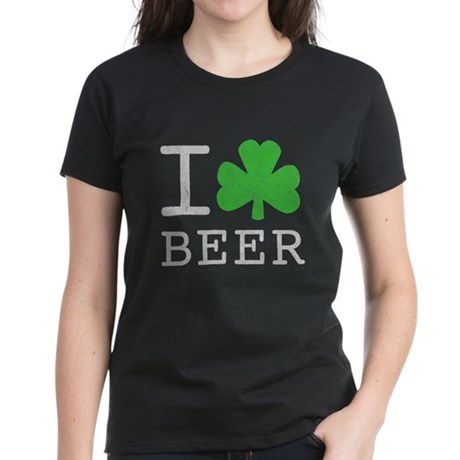 Vintage I Shamrock Beer Womens T-Shirt