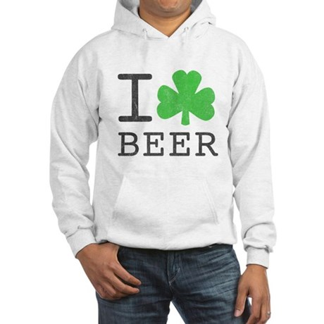 Vintage I Shamrock Beer Hooded Sweatshirt