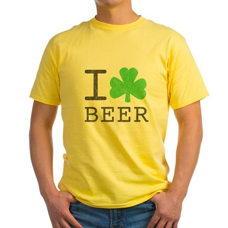 Vintage I Shamrock Beer Yellow T-Shirt