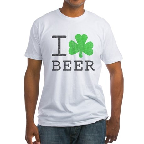 Vintage I Shamrock Beer Fitted T-Shirt