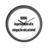 cataloged barcoded and shelve Wall Clock