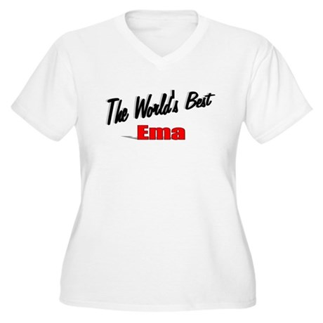 """The World's Best Ema"" Women's Plus Size V-Neck T-"