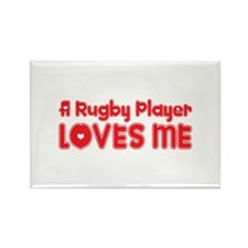 A Rugby Player Loves Me Rectangle Magnet (100 pack