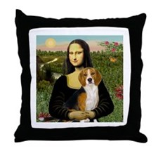 Mona Lisa & Beagle Throw Pillow