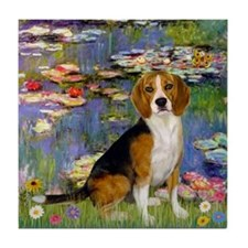 Monet's Lilies & Beagle Tile Coaster