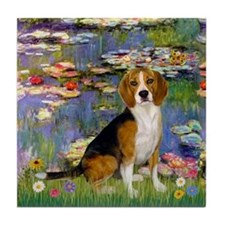 Beagle in Monet's Lilies Tile Coaster