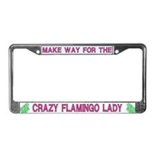 Crazy Flamingo Lady License Plate Frames