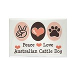 Peace Love Austalian Cattle Dog Rectangle Magnet (
