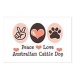 Peace Love Austalian Cattle Dog Postcards (Package