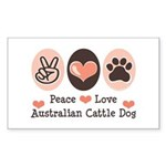 Peace Love Austalian Cattle Dog Sticker (Rectangul