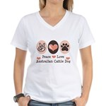 Peace Love Austalian Cattle Dog Women's V-Neck T-S
