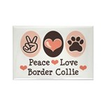 Peace Love Border Collie Rectangle Magnet (100 pac