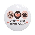 Peace Love Border Collie Ornament (Round)