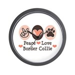Peace Love Border Collie Wall Clock