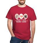 Peace Love Border Collie Dark T-Shirt
