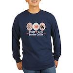 Peace Love Border Collie Long Sleeve Dark T-Shirt