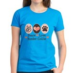Peace Love Border Collie Women's Dark T-Shirt