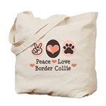 Peace Love Border Collie Tote Bag