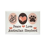 Peace Love Australian Shepherd Rectangle Magnet (1