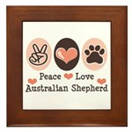 Peace Love Australian Shepherd Framed Tile