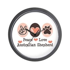 Peace Love Australian Shepherd Wall Clock