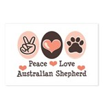 Peace Love Australian Shepherd Postcards (Package