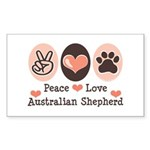 Peace Love Australian Shepherd Sticker (Rectangula