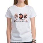 Peace Love Australian Shepherd Women's T-Shirt