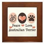 Peace Love Australian Terrier Framed Tile