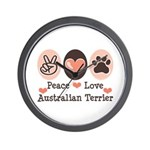 Peace Love Australian Terrier Wall Clock