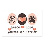 Peace Love Australian Terrier Postcards (Package o