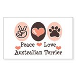 Peace Love Australian Terrier Sticker (Rectangular