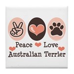 Peace Love Australian Terrier Tile Coaster