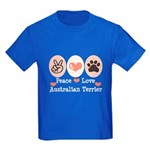 Peace Love Australian Terrier Kids Dark T-Shirt