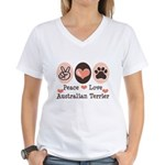 Peace Love Australian Terrier Women's V-Neck T-Shi