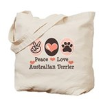 Peace Love Australian Terrier Tote Bag