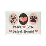 Peace Love Basset Hound Rectangle Magnet (10 pack)