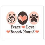 Peace Love Basset Hound Small Poster