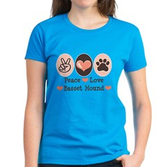 Peace Love Basset Hound Women's Dark T-Shirt